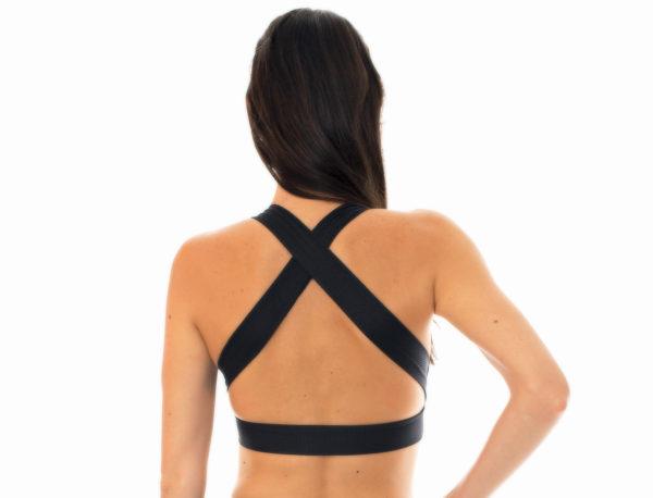 Schwarz texturiertes Bikini-Top im Sport-BH-Stil - Rio de Sol