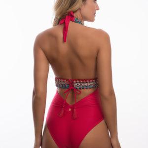 Roter Badeanzug mit V-Ausschnitt und Makramee - DESPI