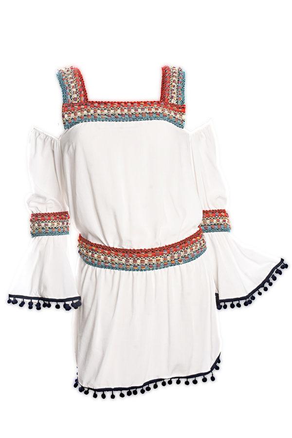 Weißes Strandkleid mit Makrameebesatz - DESPI