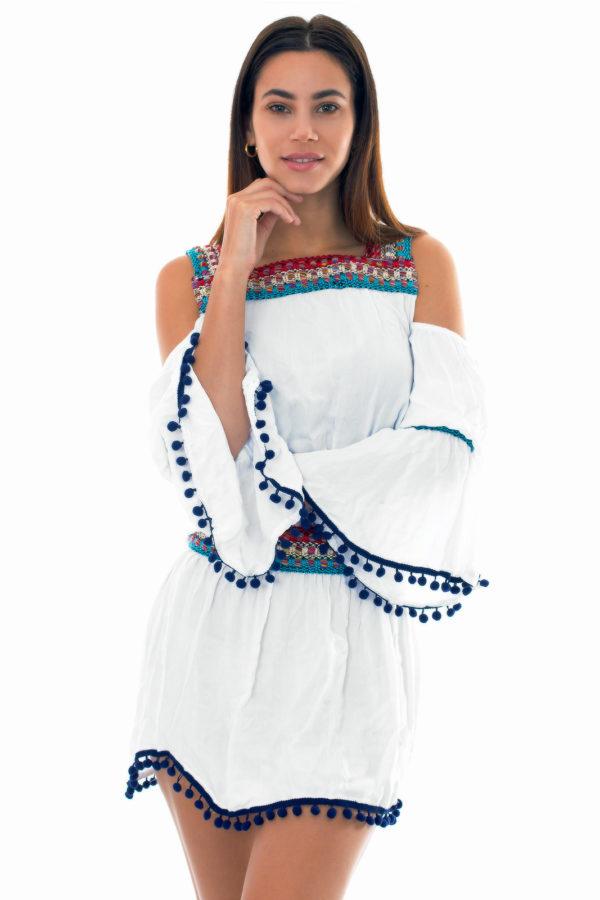 Weißes Strandkleid mit Makrameebesatz - Knitted Tunic
