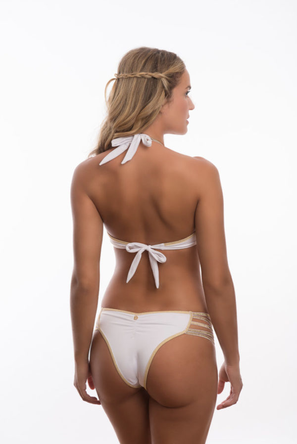Weiß goldener sexy Bikini im BH-Stil, Multischnüre - DESPI