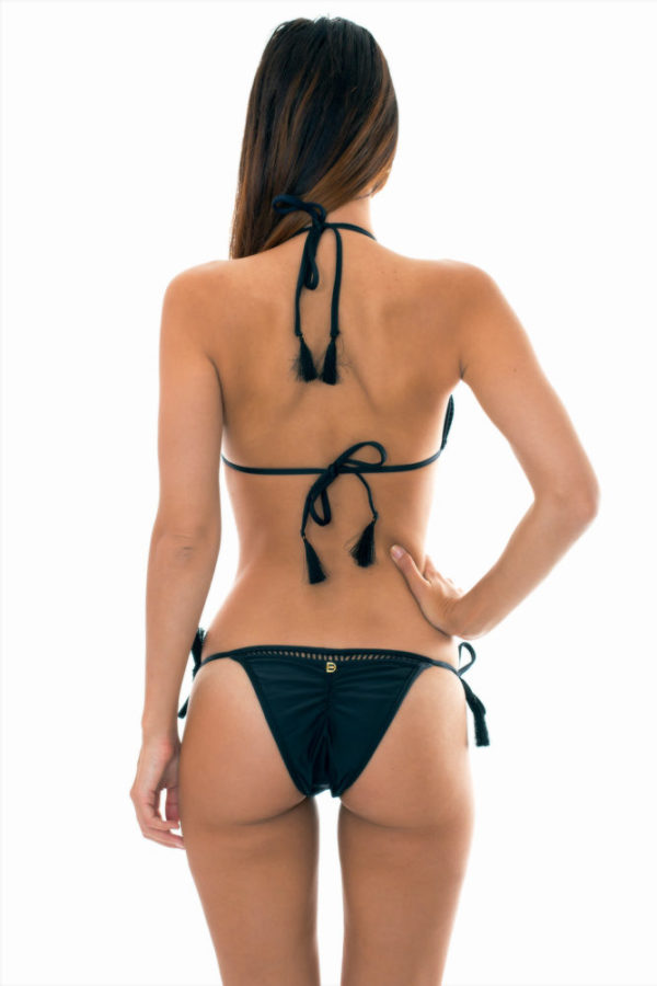 Schwarzer Despi sexy Bikini, Lochoptik, Pompons gefranst