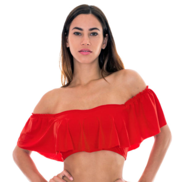 Orangeneroter Bandeau Bikini mit großen Rüschen - Soutien Urucum Babado