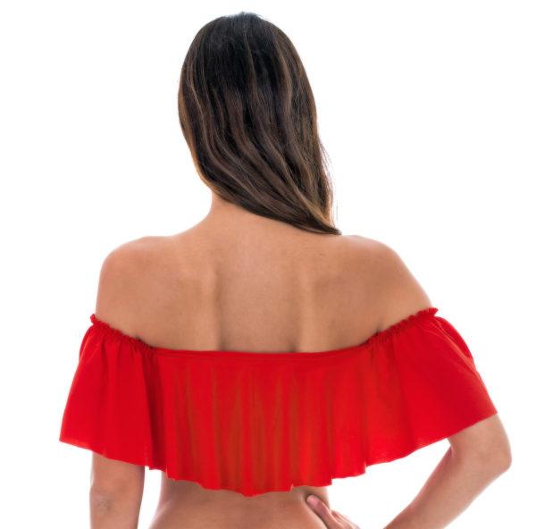 Orangeneroter Bandeau Bikini mit großen Rüschen - Rio de Sol