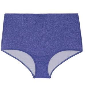 Blau schimmernde Lurex Bikinihose, hohe Taillie - Rio de Sol