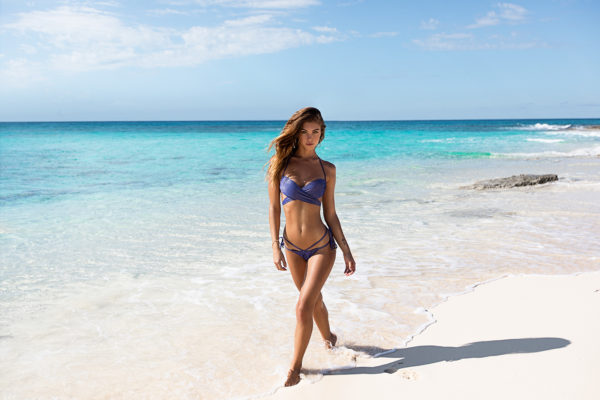 Dunkelblaue Strappy Lurex Sexy Bikinihose - Blau glänzender Bikini