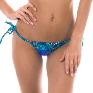 Mikro Bikinistring, geschnürt mit Pfauenaugenmotiv