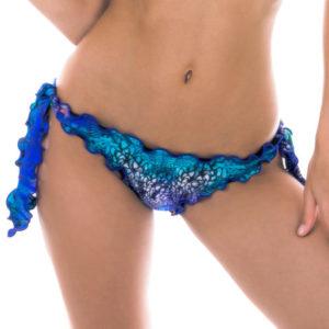 Bikinihose mit gewelltem Rand, Pfauenaugenmotiv