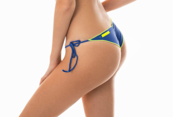 Denim Scrunch Bikinihose, neonfarbene Kontur - Bikinishop