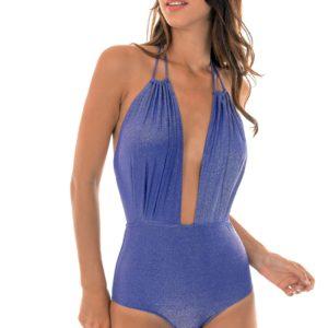 Blauer tief ausgeschnittener Lurex Badeanzug