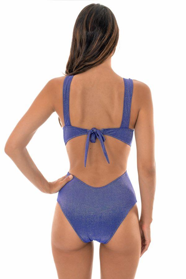 Blauer Schimmernder Lurex Badeanzug, ausgeschnitten