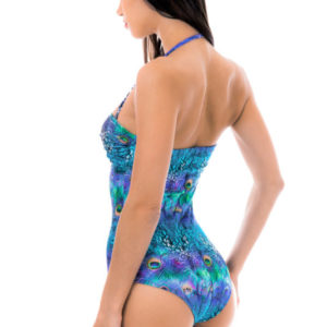 Blaugemusterter wattierter Bandeau Sexy Badeanzug - Brasil
