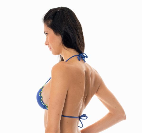 Denim Triangel Oberteil, neonfarbene Konturen - sexy Bikini