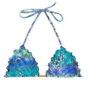 Pfauenblaues Triangel-Top mit gewellte Rändern - Bikinishop