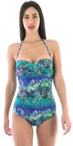 Brasilianischer Badeanzug mit blauem tropischen Muster
