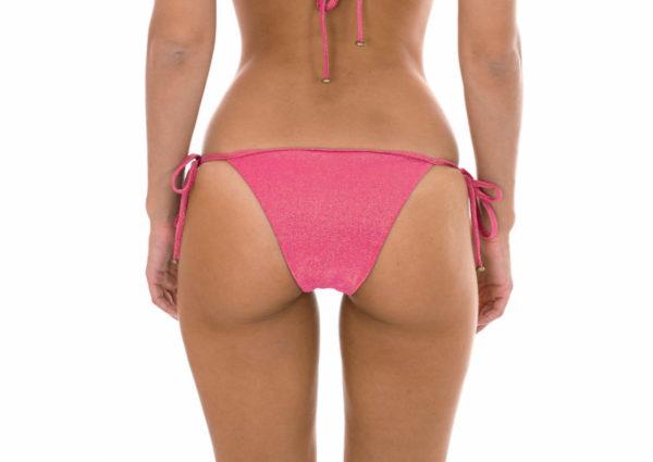 Rosa Lurex-Bikinihose mit Seitenschnüren - sexy Bikinihöschen