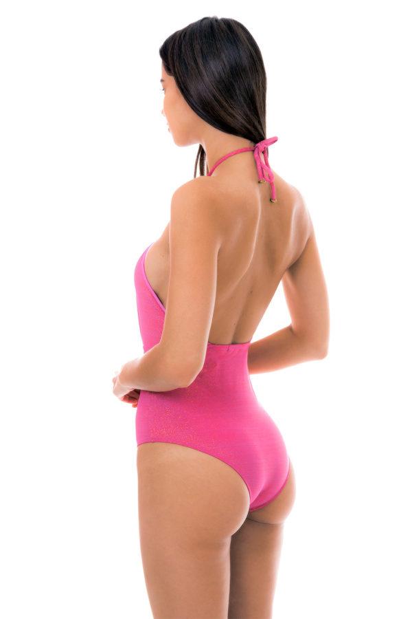 Rosa tief ausgeschnittener Lurex sexy Badeanzug