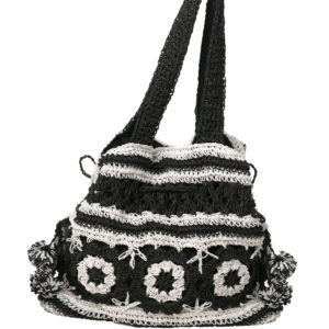 Gehäckelte Strandtasche schwarz-weiß - Black And White Crochet Bag