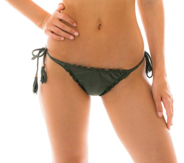 Scrunch Bikinihöschen kakifarben - Bottom Croco Frufru