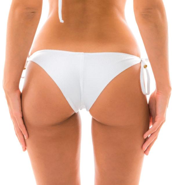 Sexy Texturiertes Bikinihöschen mit Accessoire - weiß