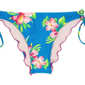 Brasil Scrunch Bikinihöschen blau geblühmt und Pompons - Rio de Sol