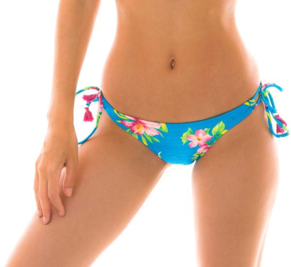 Brasil Scrunch Bikinihöschen blau geblühmt und Pompons