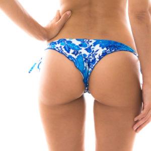 Sexy Bikinihöschen Blumenmotiv Blau-weiß