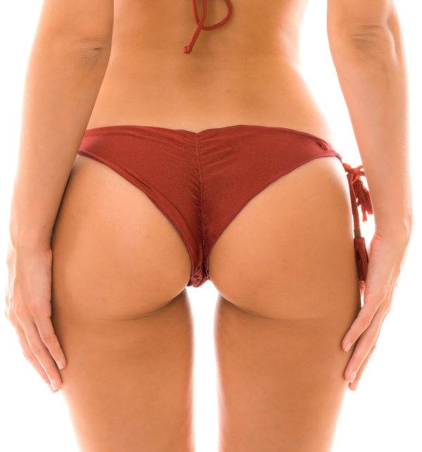 Sexy Bikiniunterteil mit Pompons, Ziegelrot Schimmernd