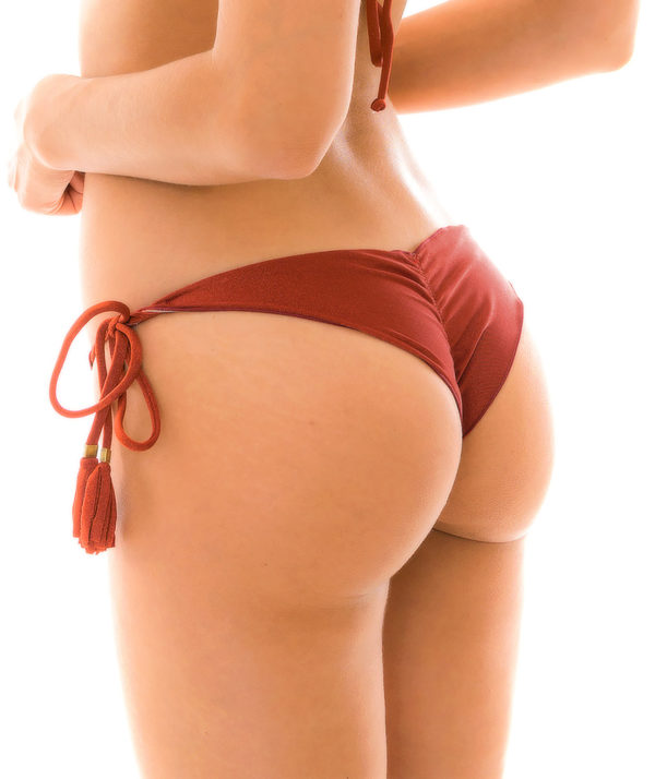 Bikiniunterteil mit Pompons, Ziegelrot Schimmernd - Rio de Sol