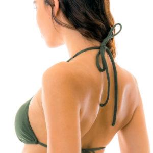 Sexy Triangel-Bikinioberteil mit Riemchen kaki glänzend