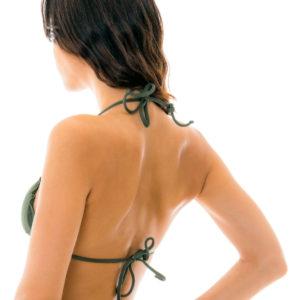 Sexy Triangle Bikini Top kakifarben glänzend