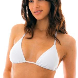 Weißes verstellbares Triangel-Bikinitop texturiert - Top Duna Tri Branco