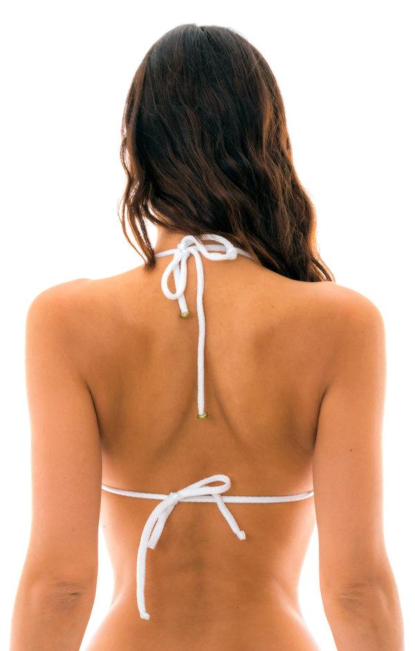 Weißes verstellbares Triangel-Bikinitop texturiert - sehr sexy