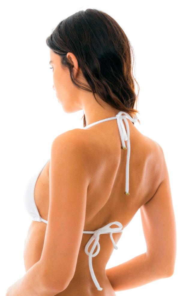 Weißes sexy Triangel-Bikinitop texturiert