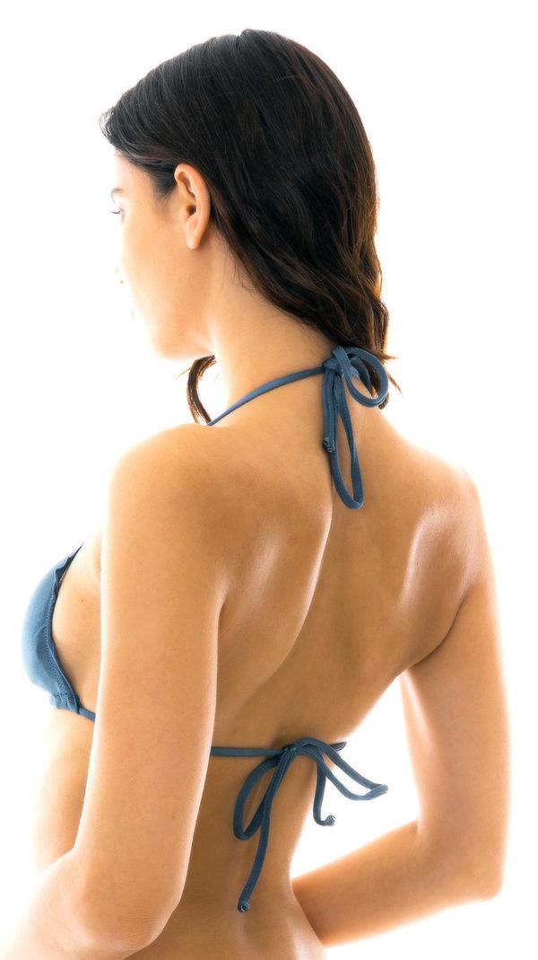 Schieferblaues Sexy Triangle Top mit gewellten Rand