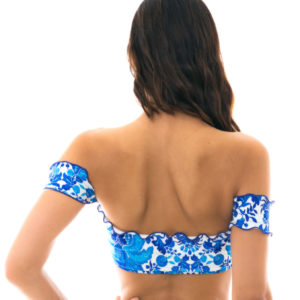 Crop Top Off Shoulder Blumenmotiv Blau-weiß - Rio de Sol