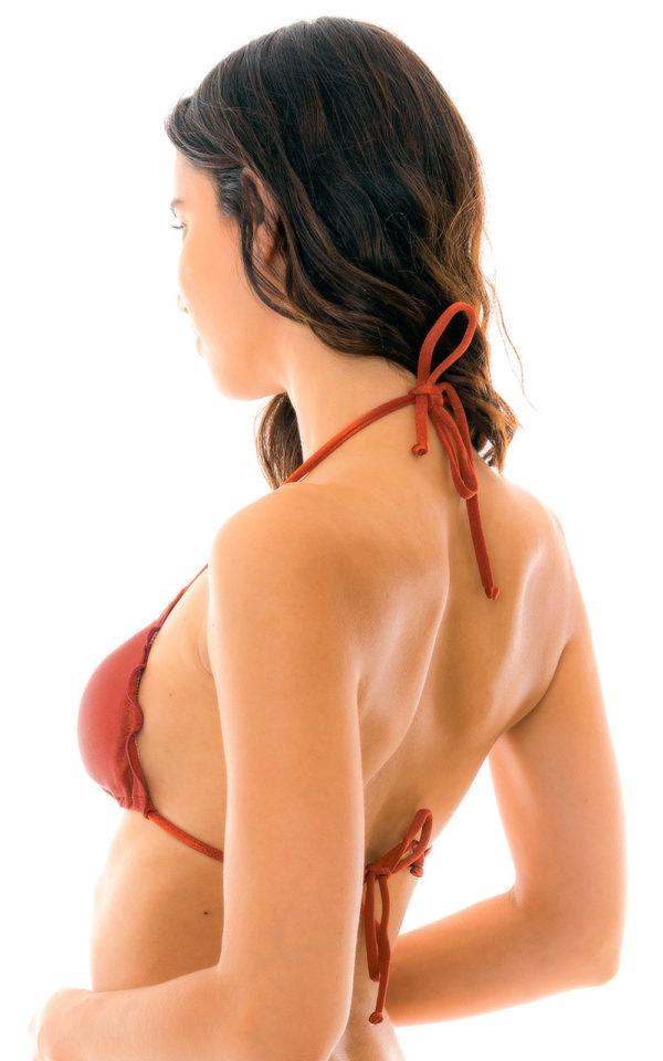 Sexy Triangel Top mit gewellten Rand ziegelrot
