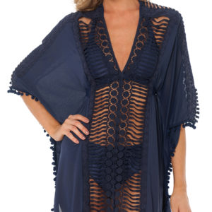 Dunkelblaues Luxus Strandkleid Despi - Kaftan Navy