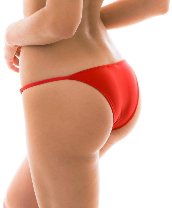 Rote sexy Bikinihose, schmale Seiten, verstellbar