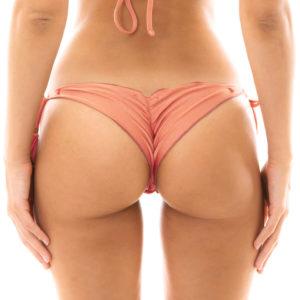 Scrunch Bikini Hose Rose mit Pompons - Bottom Rose Frufru