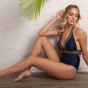 Dunkelblauer Sexy Badeanzug mit Stickerei und Fransen