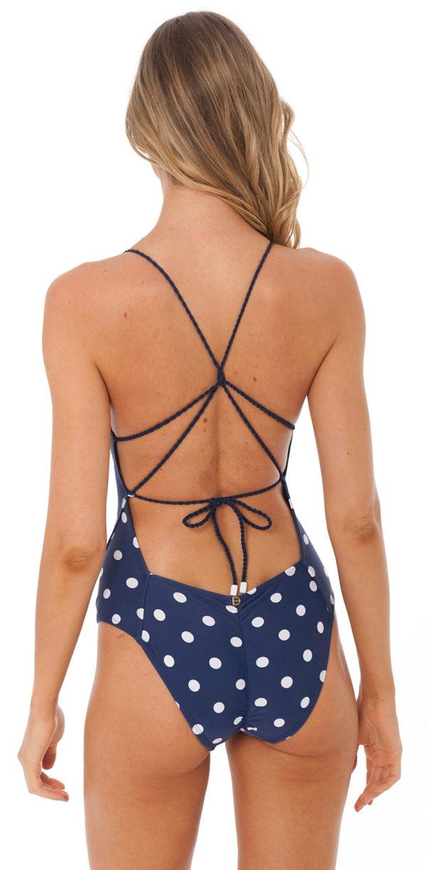 Blau gepunkteter Luxus Badeanzug - DESPI
