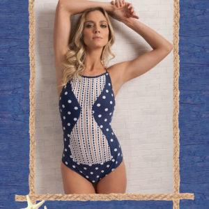 Blau gepunkteter Luxus Badeanzug - Sexy