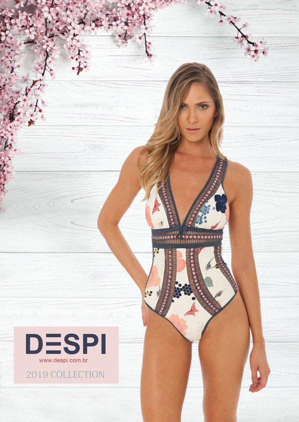 Weiß geblühmter Luxus DESPI-Badeanzug