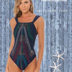 Dunkelblauer Luxus Badeanzug mit bunter Stickerei - Despi 2019