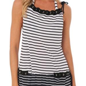 Schwarz weiß gestreiftes Strandkleid - Despi