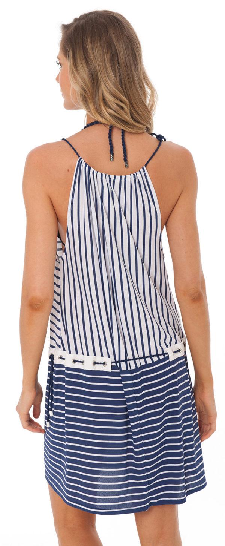 Gestreiftes Strandkleid blau weiß - Despi
