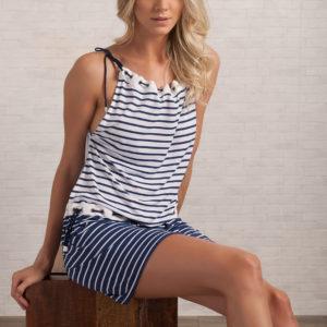 Gestreiftes Strandkleid blau weiß - Sexy Tunika