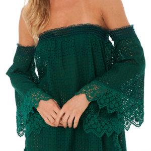 Schulterfreies grünes Strandkleid - Lace Tunic Amazon