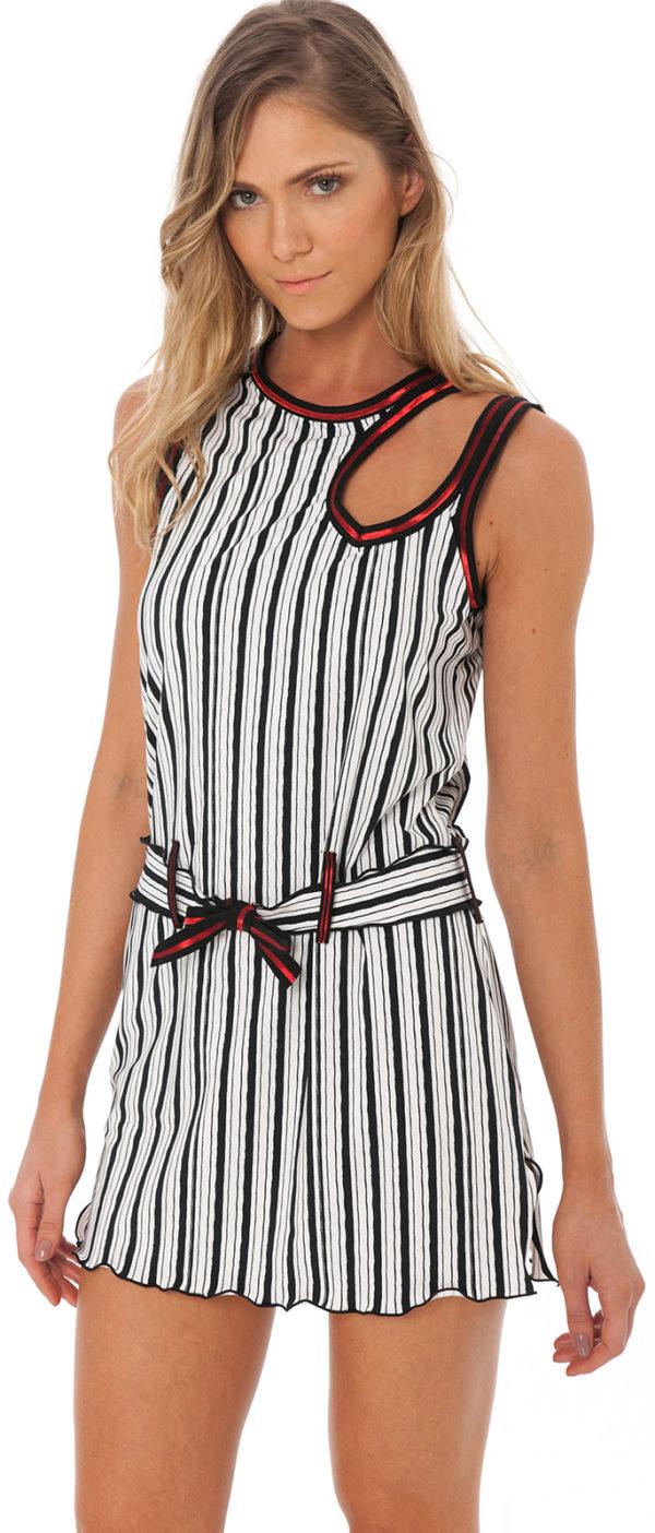 Gestreiftes Strandkleid mit glänzendem Rand - Sexy Tunika